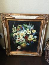 Framed Oil on Canvas of Flowers, Beautiful Frame