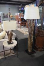 2pc Tree Branch Floor Lamp and Table Lamp