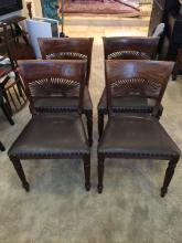 Wood and Leather Chairs