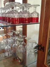 Old Style Cranberry Glasses & Wine Glasses