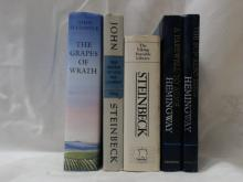 THE GRAPES OF WRATH, John Steinbeck, Book of the Month Club. 1995; THE WINTER OF OUR DISCONTENT, Viking Press, 1961; THE PORTABLE STEINBECK, Viking Press, 1971;  A  FAREWELL TO ARMS, Ernest Hemingway, Scribners, Viking Press, 1957; THE SUN ALSO RISES, Ernest Hemingway, Scribners.