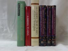 HEMINGWAY:  ISLANDS IN THE STREAM, Scribners, 1979; FAREWELL TO ARMS, dust jacketm, Scribners, 1957; THE COMPLETE SHORT TORIES OF ERNEST HEMINGWAY, The Finca Vigia Edition, dust jacket, Scribners, 1987; FOR WHOM THE BELL TOLLS, Book of the Month Club, dust jacket; THE SUN ALSO RISES, Book of the Month Club, dust jacket; A MOVEABLE FEAST, dust jacket. Book of the Month Club.