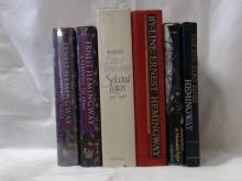 HEMINGWAY:  SELECTED LETTERS 1917-1861, dust jacket, Scribners 1981; A MOVEABLE FEAST, Scribners, 1964; A FAREWELL TO ARMS, dust jacket, Book of the Month Club, 1993; BY-LINE: ERNEST HEMINGWAY, Scribners, 1967; FOR WHOM THE BELL TOLLS, Book of the Month Club, dust jacket; THE SUN ALSO RISES, Scribners, 1954.