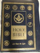 HOLY BIBLE, MASONIC EDITION, Large book with gilt edges, front board detached, presentation page completed in 1960 to Joseph Bureski.  Condition:  Poor.