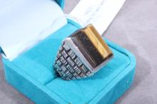 Sterling Old Taxco Gents Ring Tiger Eye Stone