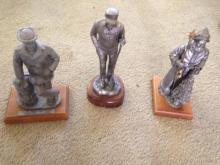 3 Michael Ricker Pewter Statues