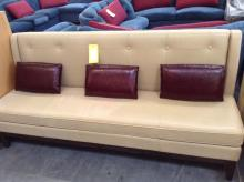 Tan Leather Couch w/ 3 Maroon Leather Pillows
