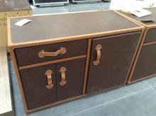 3 Door, 1 Drawer Brown Leather Dresser