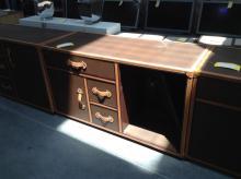 2 Door, 3 Drawer Brown Leather Dresser (One Broken Door)