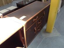 2 Door, 3 Drawer Brown Leather Dresser