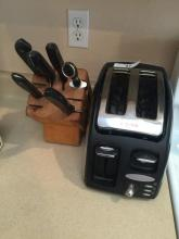 Wood Knife Block and T-Fal Toaster