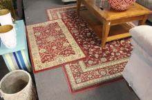 (2) Red Floral Rugs