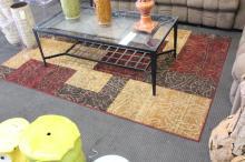 Maroon and Tan Floor Rug