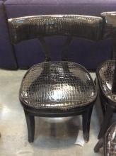 Black Chair- Reptile Skin Style Upholstery