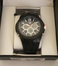 Beverly Hills Polo Club Men's Large Face  Analog Sports Watch. Black Rubber Band w/  Black Face- 53178 - Retail New In Box