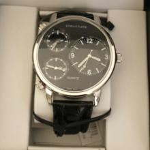 Men's Structure By Surface Analog Watch Black  Leather Band w/ Black Face - 14270 - Retail  New In Box