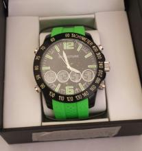Men's Structure By Surface Analog Watch  Electric Green  Rubber Band w/ black Face -  15422- Retail New In Box