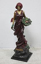 J. Upues(?), a painted bronze figure of a lady,
