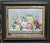 A porcelain painted rectangular plaque, of roses,