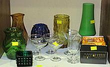 Six mid- 20th century glass vases of various