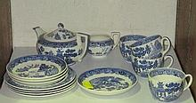 A Wedgwood blue and white Willow pattern teapot,