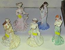 Five Coalport porcelain figures of ladies,