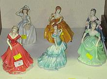 Six Coalport porcelain figures of ladies, from the