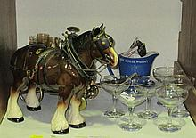 A Melbaware model of a shire horse, with decanter
