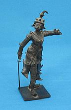 A bronze figure of an Eastern Swordsman, 15cm.