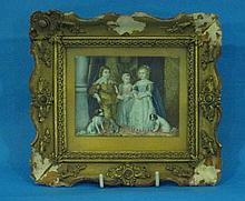 A miniature oil painting of three children and
