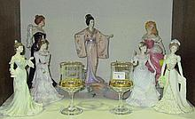 Four Coalport porcelain figures of Ladies, three