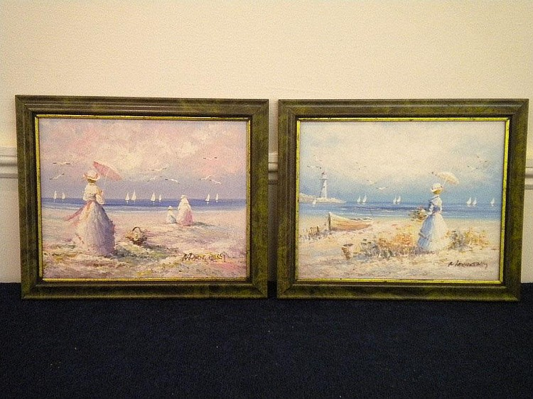 Marie Charlot, pair of oils on board, Lady with