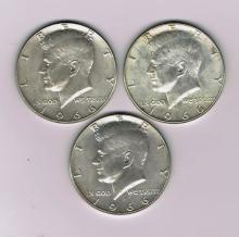 Three 1966 Kennedy Half Dollars