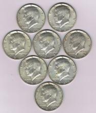 Eight 1968 D Kennedy Half Dollars