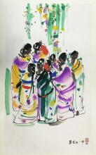 CHINESE WATERCOLOR OF FIGURES