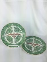 PAIR OF CHINESE EXPORT GREEN FITZHUGH PLATES WITH US EAGLE MOTIF 19THC