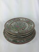 EIGHT CHINESE FAMILLE MEDALLION PLATES EARLY 19THC