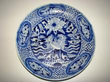 CHINESE PORCELAIN BLUE AND WHITE PHOENIXES PLATE