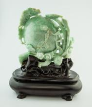 CHINESE JADE CARVED PEACH WITH WOOD STAND
