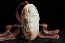 CHINESE HETIAN WHITE JADE CARVED LOHAN