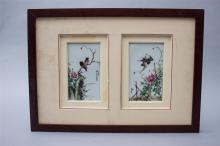 PAIR OF FRAMED CHINESE PORCELAIN FAMILLE ROSE PLAQUES