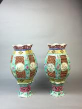 PAIR OF CHINESE PORCELAIN FAMILLE ROSE LANTERNS