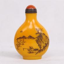 CHINESE PEKING YELLOW GLASS SNUFF BOTTLE