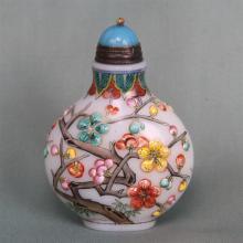 CHINESE PEKING GLASS FLOWER SUNFF BOTTLE
