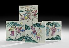 Four Chinese Porcelain Tiles