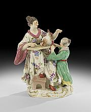 Meissen Figure of a Mother and Child