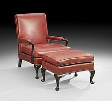 Queen Anne-Style Club Chair and Ottoman