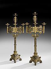 Pair of English Gilt-Bronze Four-Light Candelabra