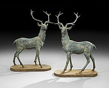 Pair of Cast Iron Lawn Stags