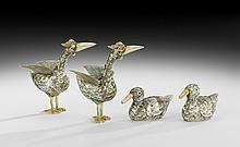 Two Pairs of Japanese Figures of Aquatic Birds